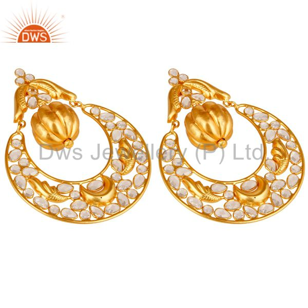 Exporter Zircon and 18K Gold Plated Sterling Silver Chand Bali Earring