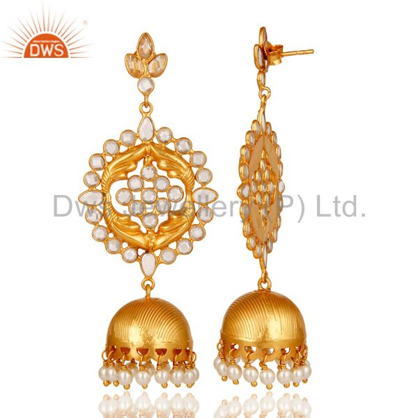 Exporter Zircon and 18K Gold Plated Sterling Silver Traditional Jhumka Earring