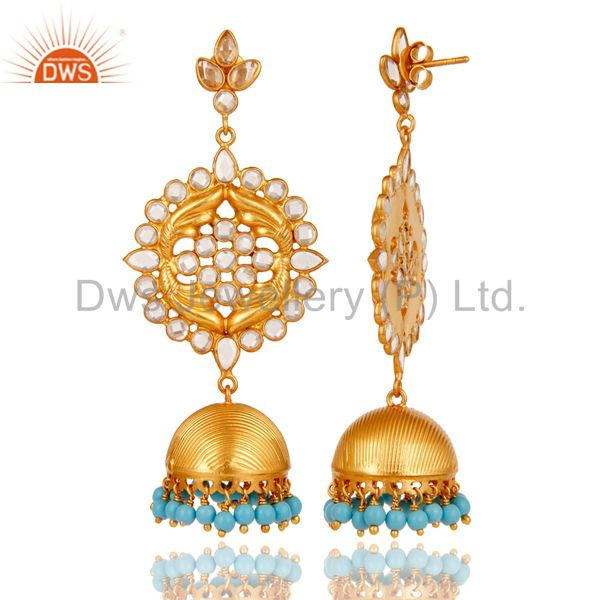 Exporter Turquoise Zircon and 18K Gold Plated Sterling Silver Traditional Jhumka Earring