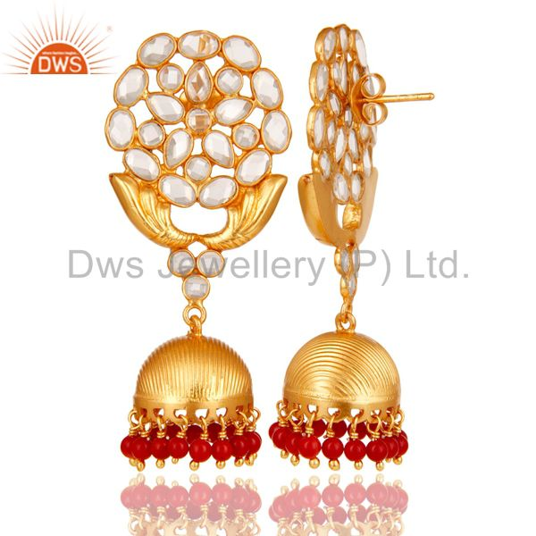 Exporter CZ and Coral 18K Gold Plated Sterling Silver Traditional Jhumka Earring