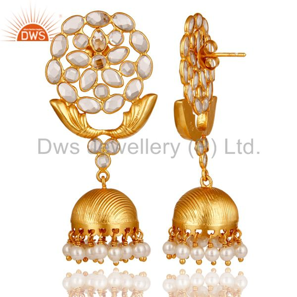 Exporter Zircon and Pearl 18K Gold Plated Sterling Silver Traditional Jhumka Earring