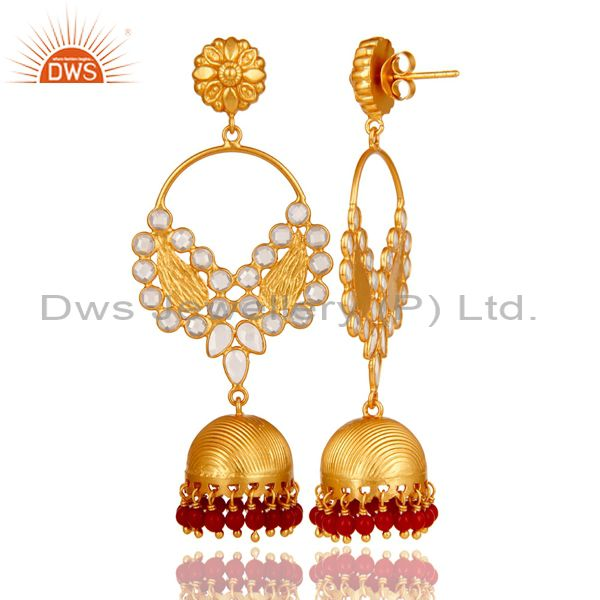 Exporter Coral Cultured and CZ 18K Gold Plated Sterling Silver Jhumka Traditional Earring