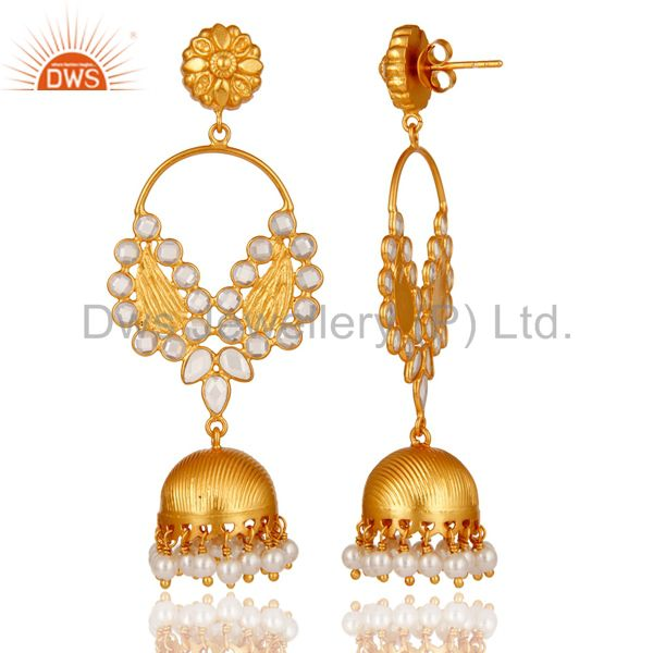 Exporter Pearl and CZ 18K Gold Plated Sterling Silver Jhumka Traditional Earring