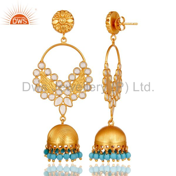 Exporter Turquoise and CZ 18K Gold Plated Sterling Silver Jhumka Traditional Earring