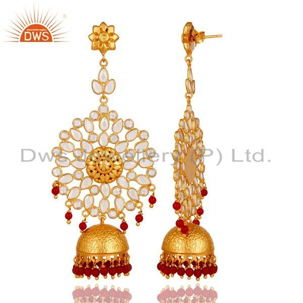 Exporter Zircon and Coral 18K Gold Plated Sterling Silver Traditional Jhumka Earring