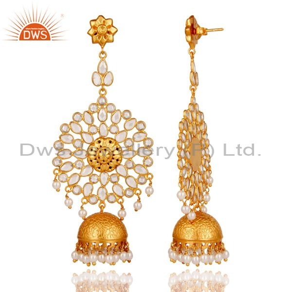 Exporter Zircon and Pearl 18K Gold Plated Sterling Silver Traditional Jhumki Earring