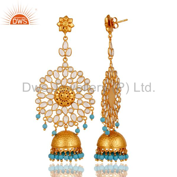 Exporter 18K Gold Plated 925 Sterling Silver Turquoise Zircon Ethnic Jhumka Earrings