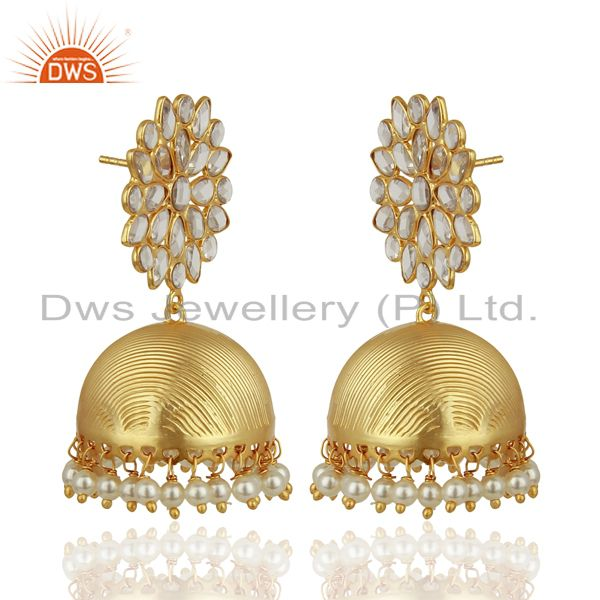 Exporter Pearl and CZ 18K Gold Plated Sterling Silver Traditional Earring Jhumka