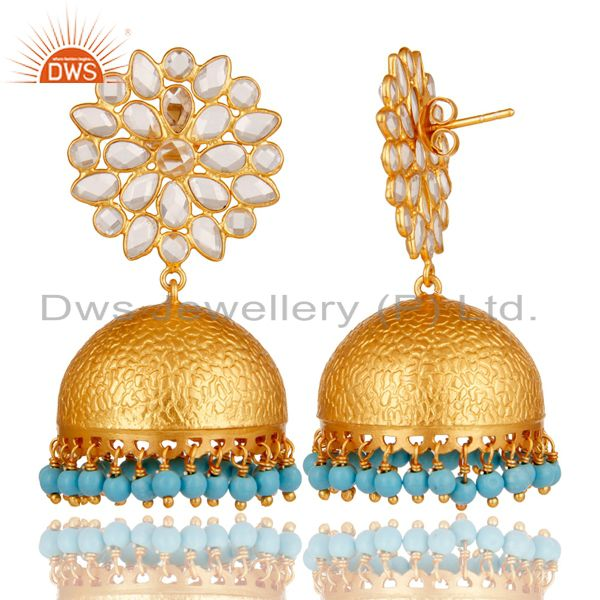 Exporter Turquoise and CZ 18K Gold Plated Sterling Silver Traditional Earring Jhumka