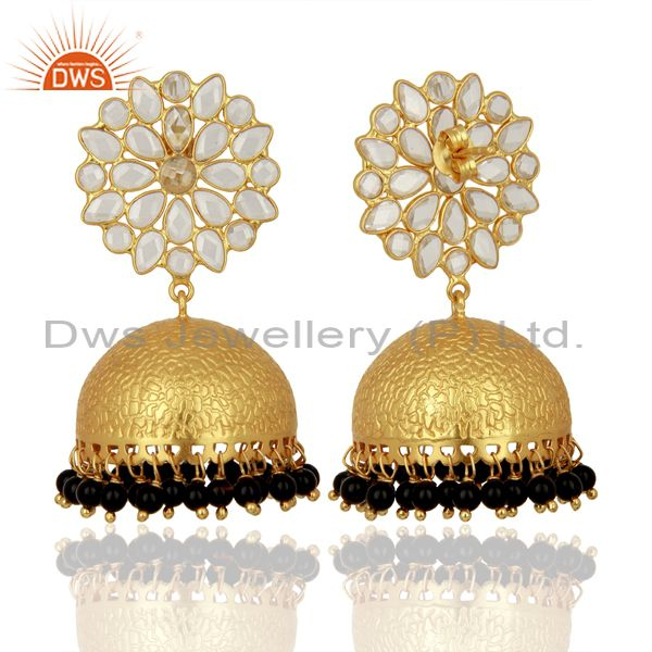 Exporter Wholesale Gold Plated Indian Traditional Earrings Gemstone Jewelry