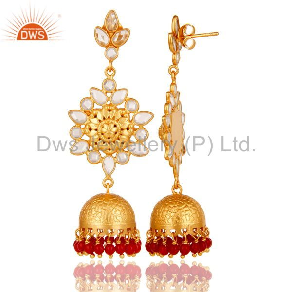 Exporter Coral and CZ Sterling Silver 18K Gold Plated Jhumka Earring