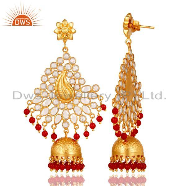 Exporter 18K Gold Plated 925 Sterling Silver Red Coral Zircon Traditional Jhumka Earring