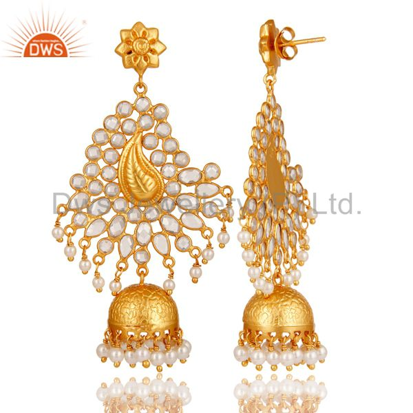 Exporter Pearl and CZ Sterling Silver 18K Gold Plated Earring Traditional Jhumka