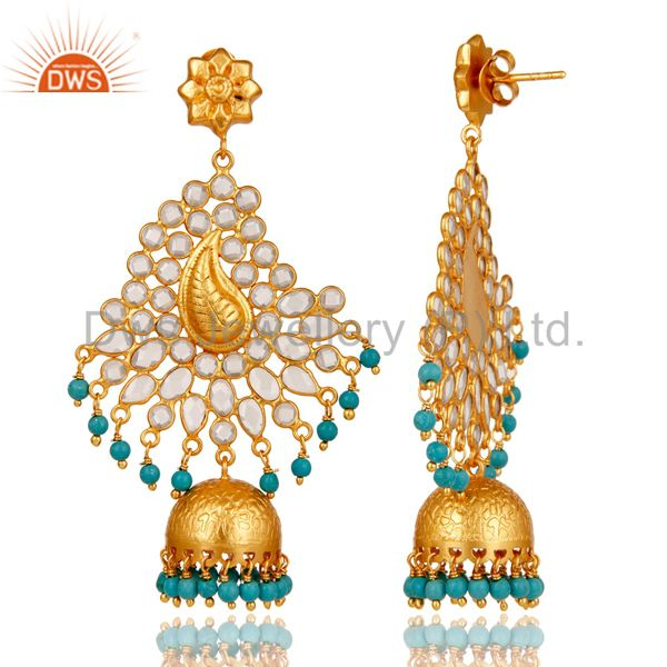Exporter Turquoise and CZ Sterling Silver 18K Gold Plated Earring Traditional Jhumka