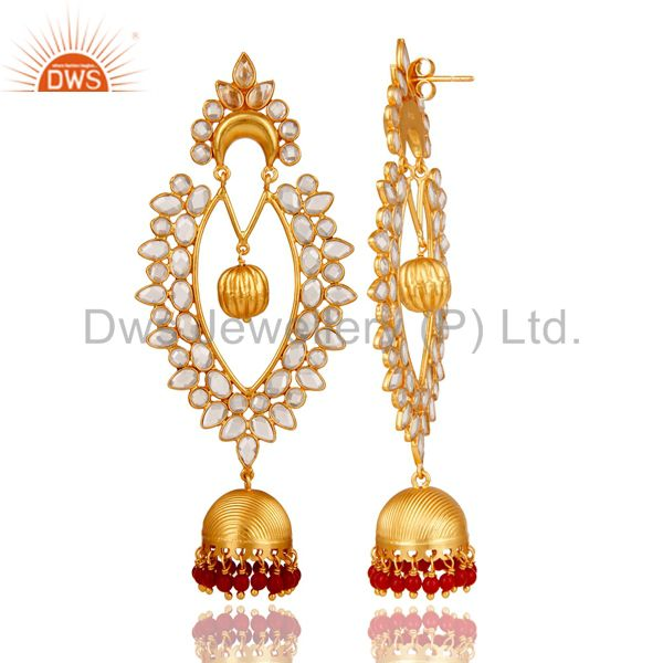 Exporter 18K Gold Plated Sterling Silver Coral Cultured and CZ Jhumka Traditional Earring