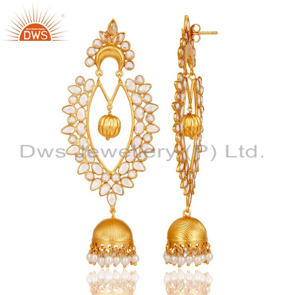 Exporter 18K Gold Plated Sterling Silver Pearl and CZ Jhumka Traditional Earring