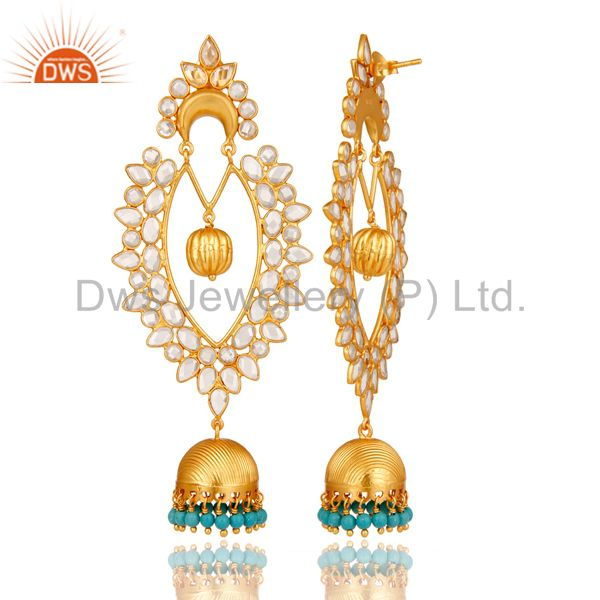 Exporter 18K Gold Plated Sterling Silver Turquoise & White Zirconia Jhumka Earrings