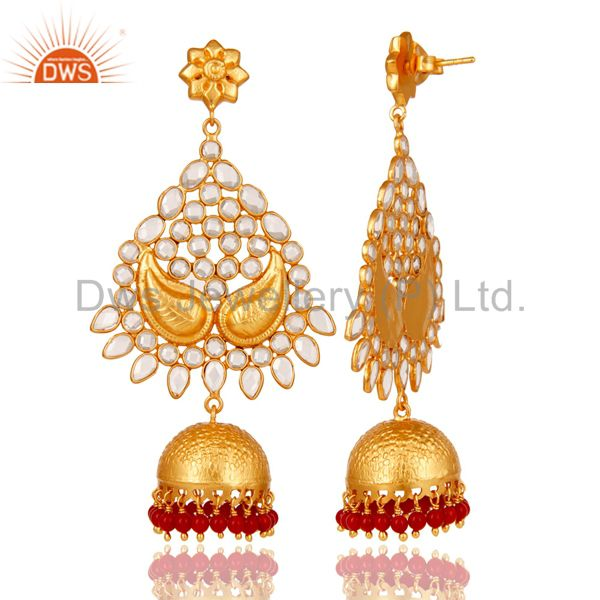 Exporter 18K Gold Plated 925 Sterling Silver Coral CZ Jhumka Traditional Earring Jewelry