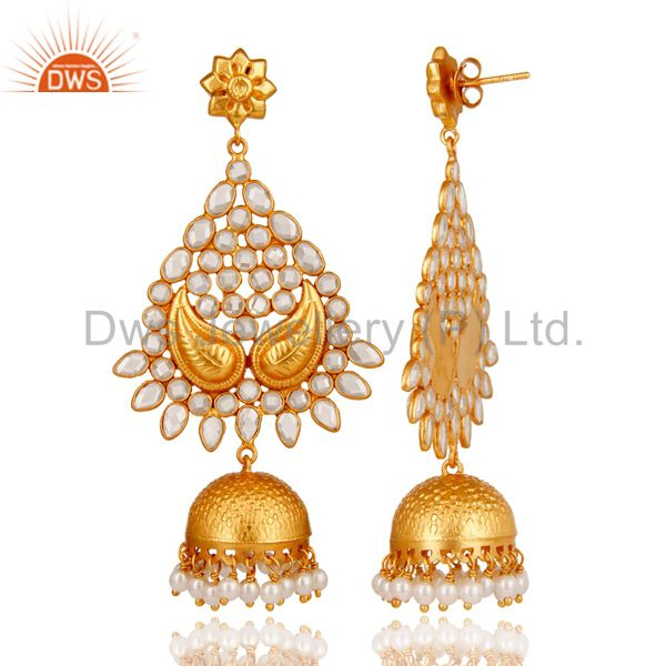 Exporter 18K Gold Plated Sterling Silver and Pearl, CZ Jhumka Earring