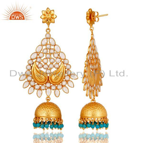 Exporter 18K Gold Plated Sterling Silver and Turquoise, CZ Jhumka Earring