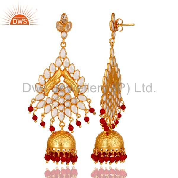 Exporter 18K Gold Plated Coral and CZ Sterling Silver Traditional Earring