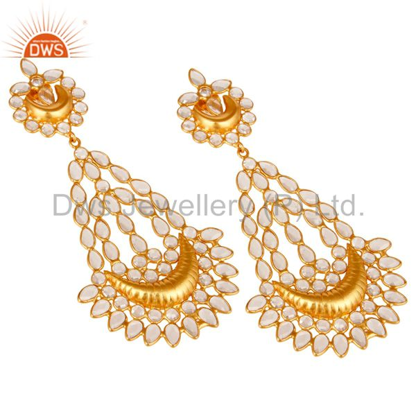 Exporter 18K Gold PLated Sterling Silver White Zircon Jhumka Traditional Earring