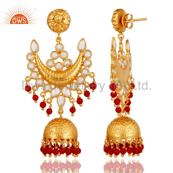 Exporter 18K Gold Plated Coral and Zircon Sterling Silver Traditional Jhumka Earring
