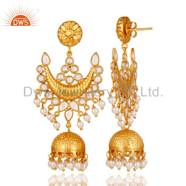 Exporter 18K Gold Plated Pearl and Zircon Sterling Silver Traditional Jhumka Earring