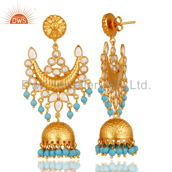 Exporter 18K Gold Plated Turquoise and Zircon Sterling Silver Traditional Jhumka Earring