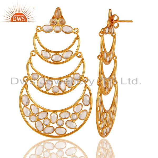 Exporter 18K Gold Plated Sterling Silver White Zircon Dangler Earring Traditional Jewelry