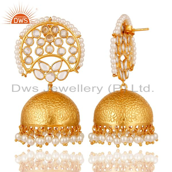 Exporter Pearl and White Zircon Jhumka Earring 18K Gold Plated 925 Silver Earrings