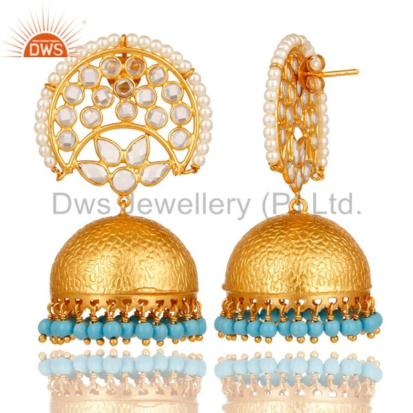 Exporter CZ and Turquoise Jhumka Earring 18K Gold Plated 925 Silver Earring