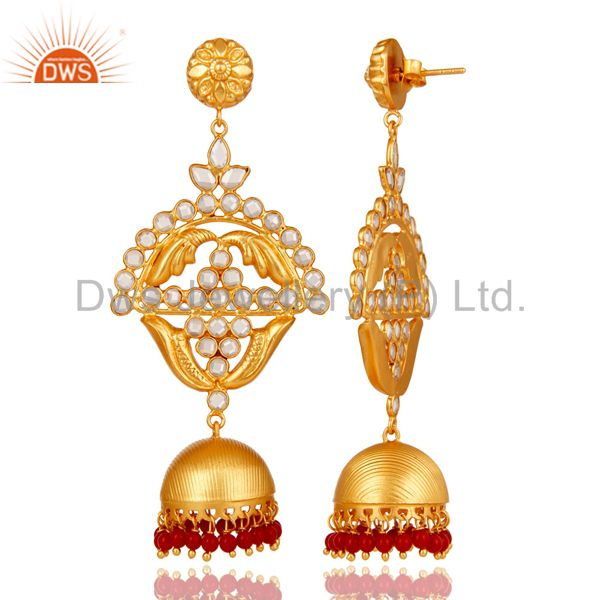 Exporter Coral and Zircon 18K Gold Plated Jhumka Traditional Earring