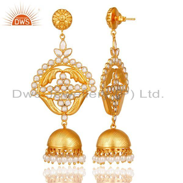 Exporter 18K Gold Plated Sterling Silver Jhumka Traditional Earring with Pearl & CZ
