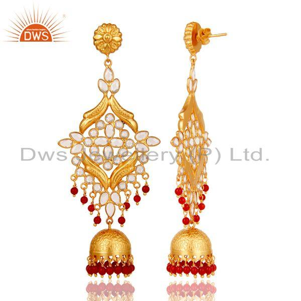Exporter CZ and Coral Traditional Jhumka Earring 18K Gold Plated 925 Silver