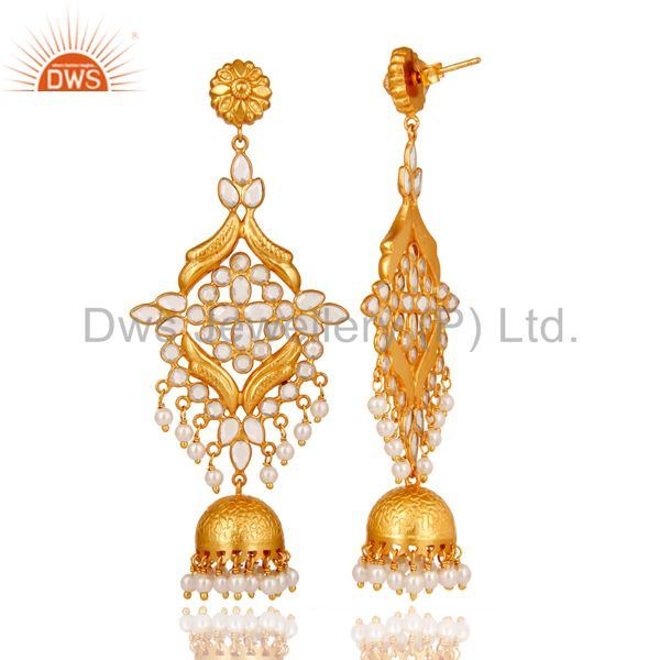 Exporter 18K Gold Plated 925 Sterling Silver Pearl & White Zirconia Jhumka Earrings