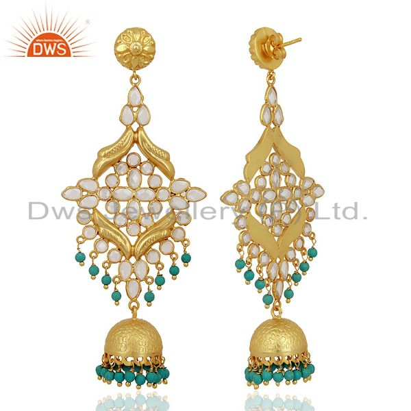 Exporter CZ and Turquoise Traditional Jhumka Earring 18K Gold Plated 925 Silver