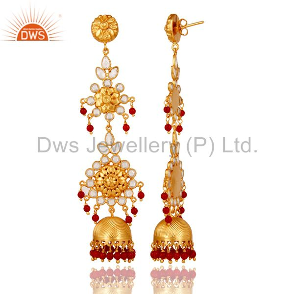Exporter CZ and Coral Traditional Jhumka Earring 18K Gold Plated Sterling Silver