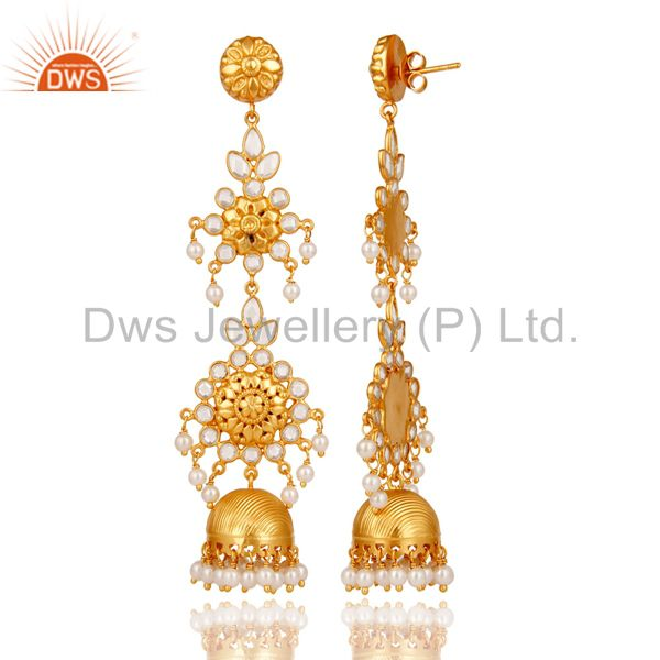 Exporter Pearl & White Zircon Traditional Jhumka Earrings 18K Gold Plated Sterling Silver