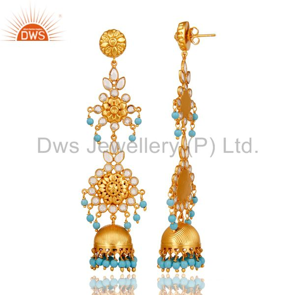 Exporter 18K Gold Plated 925 Sterling Silver Turquoise Zircon Jhumka Earrings Jewelry