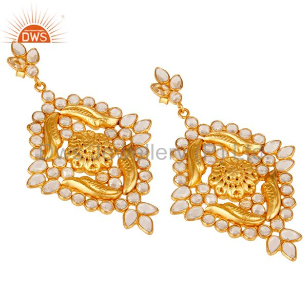 Exporter 18k Gold Plated Traditional White Zircon Earrings Jewellery With Sterling Silver