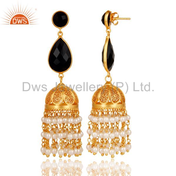 Exporter Black Onyx & Pearl Traditional Jhumka Earring 18K Gold Plated Sterling Silver
