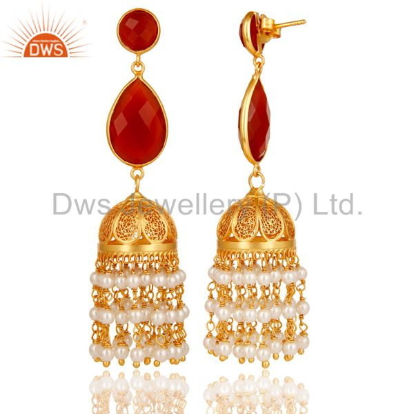 Exporter Red Onyx & Pearl Traditional Jhumka Earring 18K Gold Plated Sterling Silver