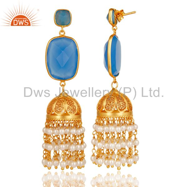 Exporter Chalcedony & Pearl Traditional Jhumka Earring 18K Gold Plated Sterling Silver