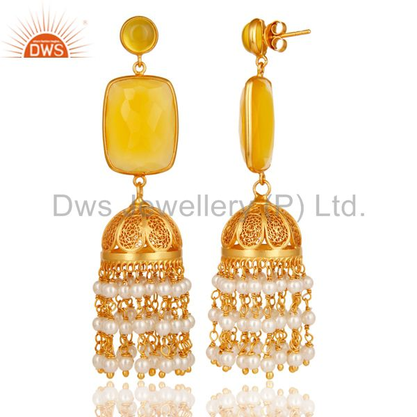 Exporter Chalcedony & Pearl Traditional Jhumka Earring 18K Gold Plated 925Sterling Silver
