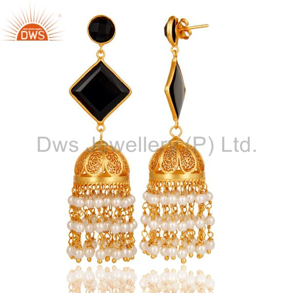Exporter Pearl & Black Onyx Traditional Jhumka Earring 18K Gold Plated 925Sterling Silver