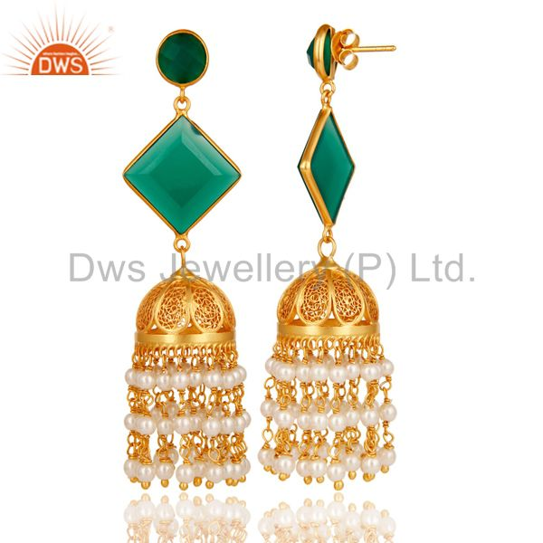 Exporter Pearl & Green Onyx Traditional Jhumka Earring 18K Gold Plated 925Sterling Silver