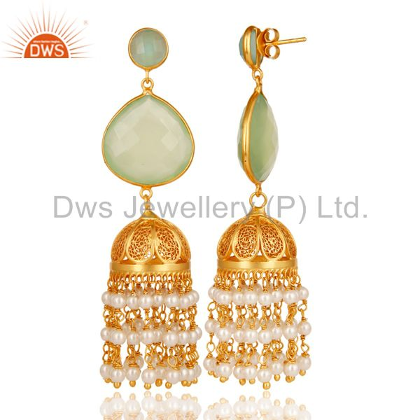 Exporter Aqua, Pearl & Chalcedony Jhumka Earring 18K Gold Plated 925 Sterling Silver