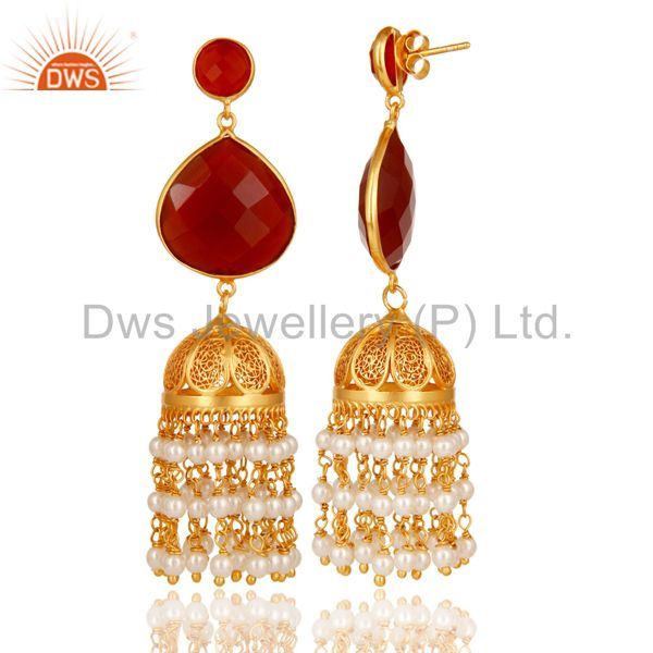Exporter Pearl & Red Onyx Traditional Jhumka Earring 18K Gold Plated 925 Sterling Silver