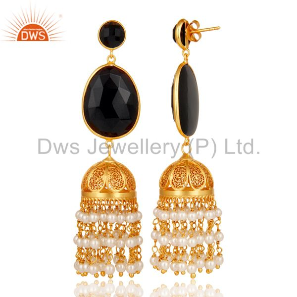 Exporter Pearl & Onyx Traditional Jhumka Earring 18K Gold Plated 925 Sterling Silver